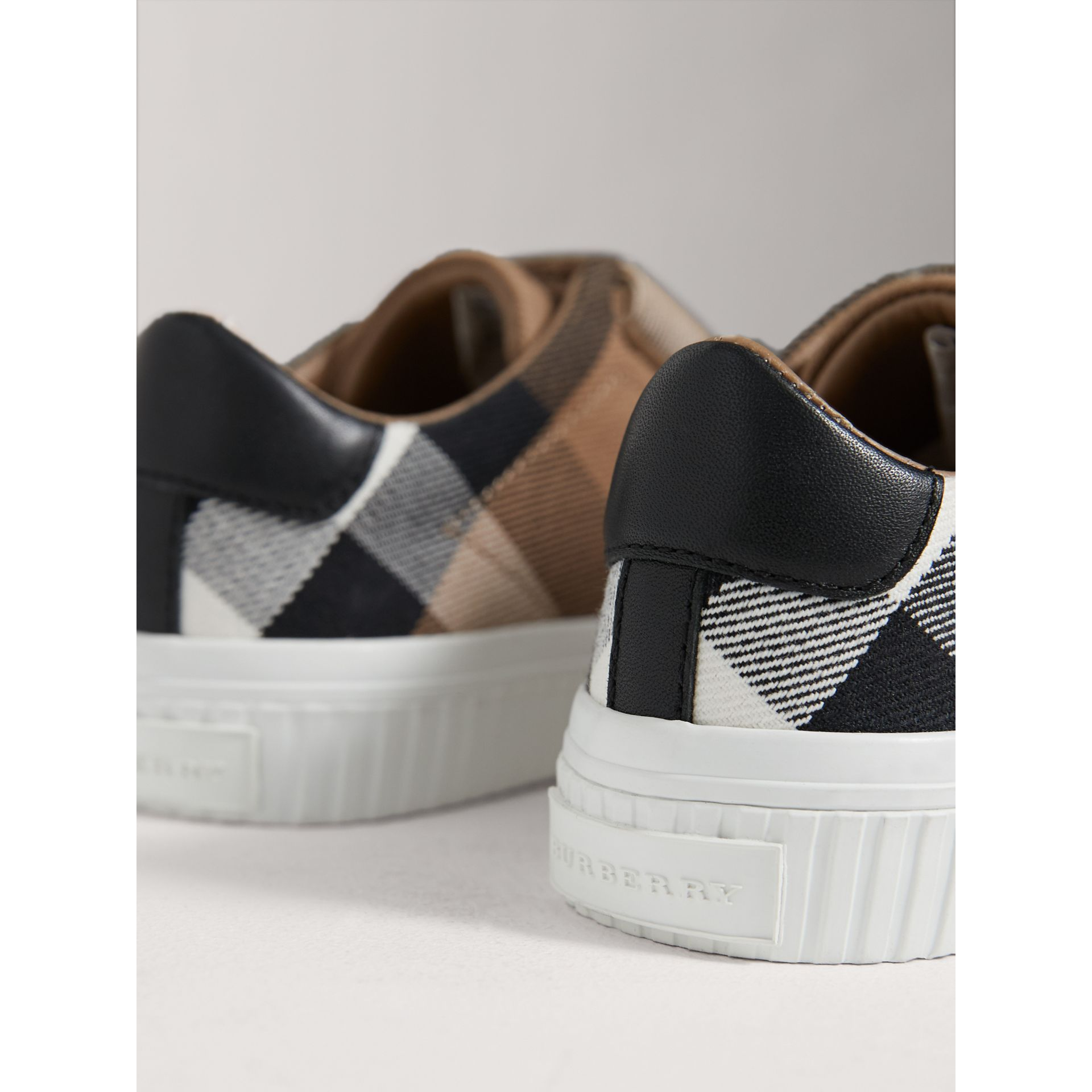 House Check and Leather Trainers in Classic/optic White | Burberry United Kingdom - gallery image 3
