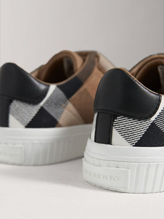 House Check and Leather Trainers in Classic/optic White | Burberry - cell image 2