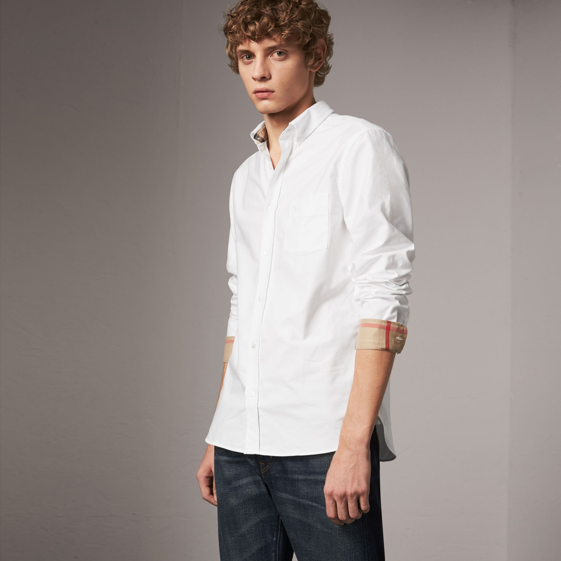 Check Detail Cotton Oxford Shirt in White - Men | Burberry - gallery image 0