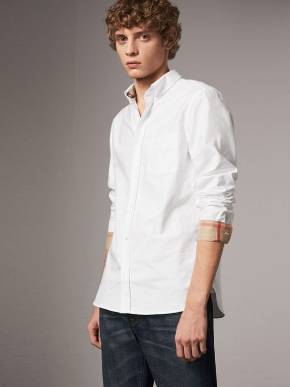 格紋細節設計棉質牛津襯衫 (白色)