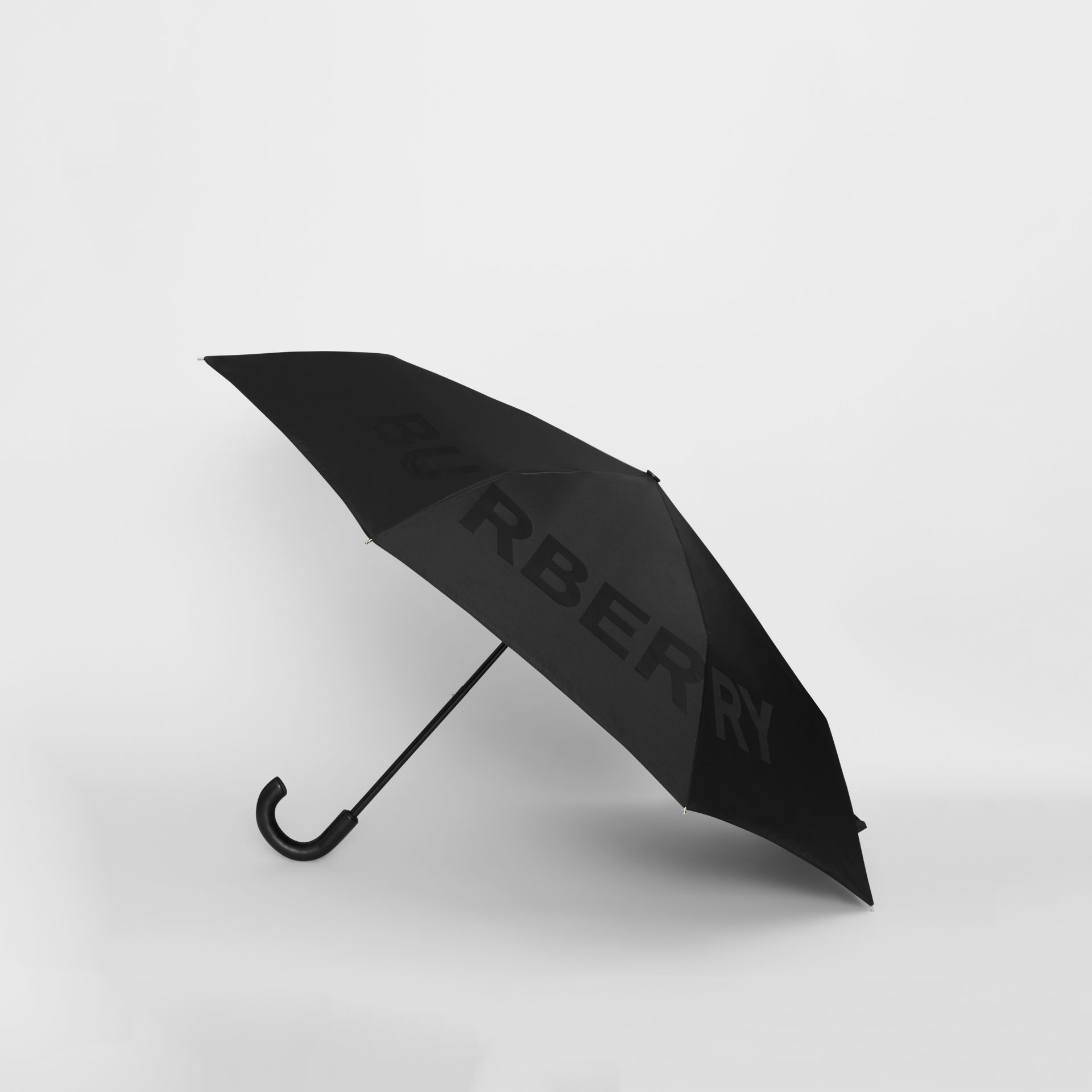 Kingdom Print Folding Umbrella in Black | Burberry Canada - gallery image 3