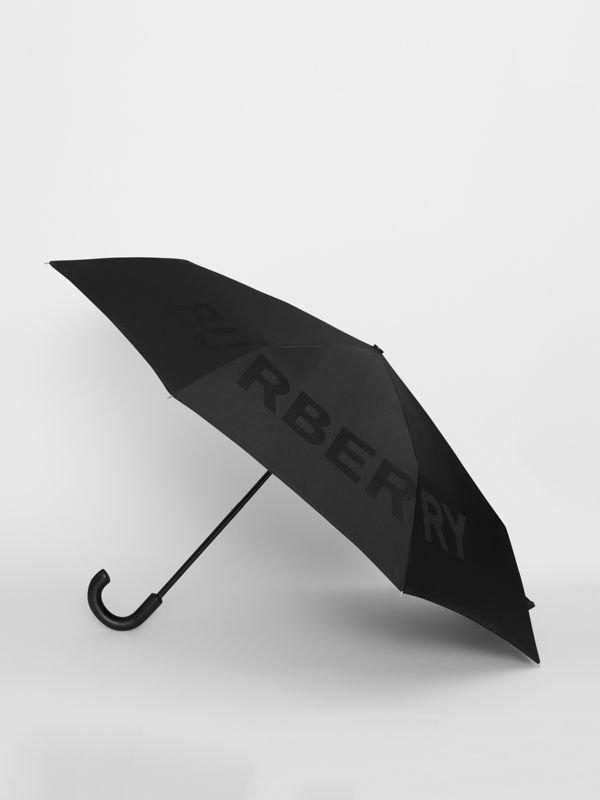 Kingdom Print Folding Umbrella in Black | Burberry - cell image 3