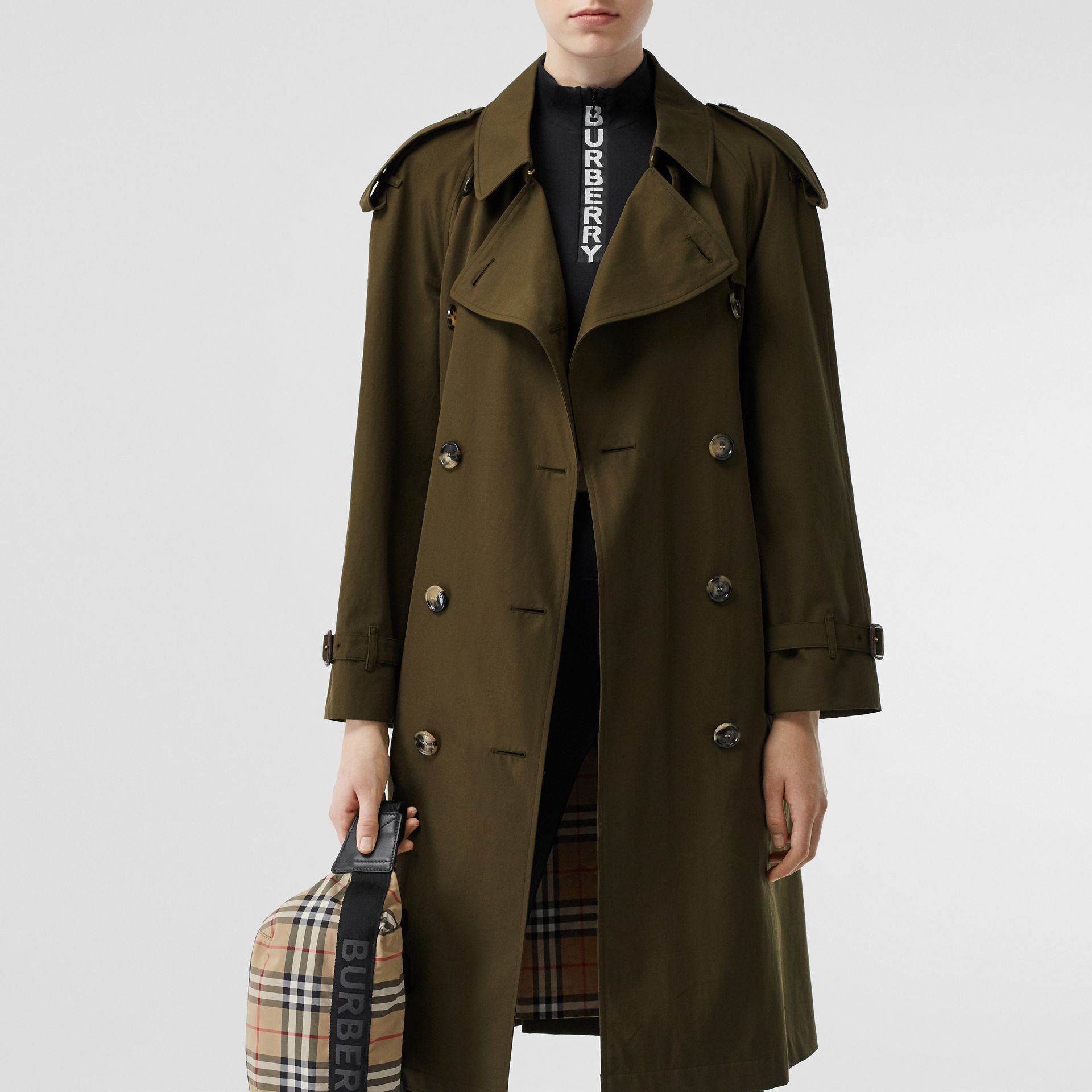 Tropical Gabardine Mid-length Trench Coat in Dark Military Khaki - Women | Burberry - gallery image 10