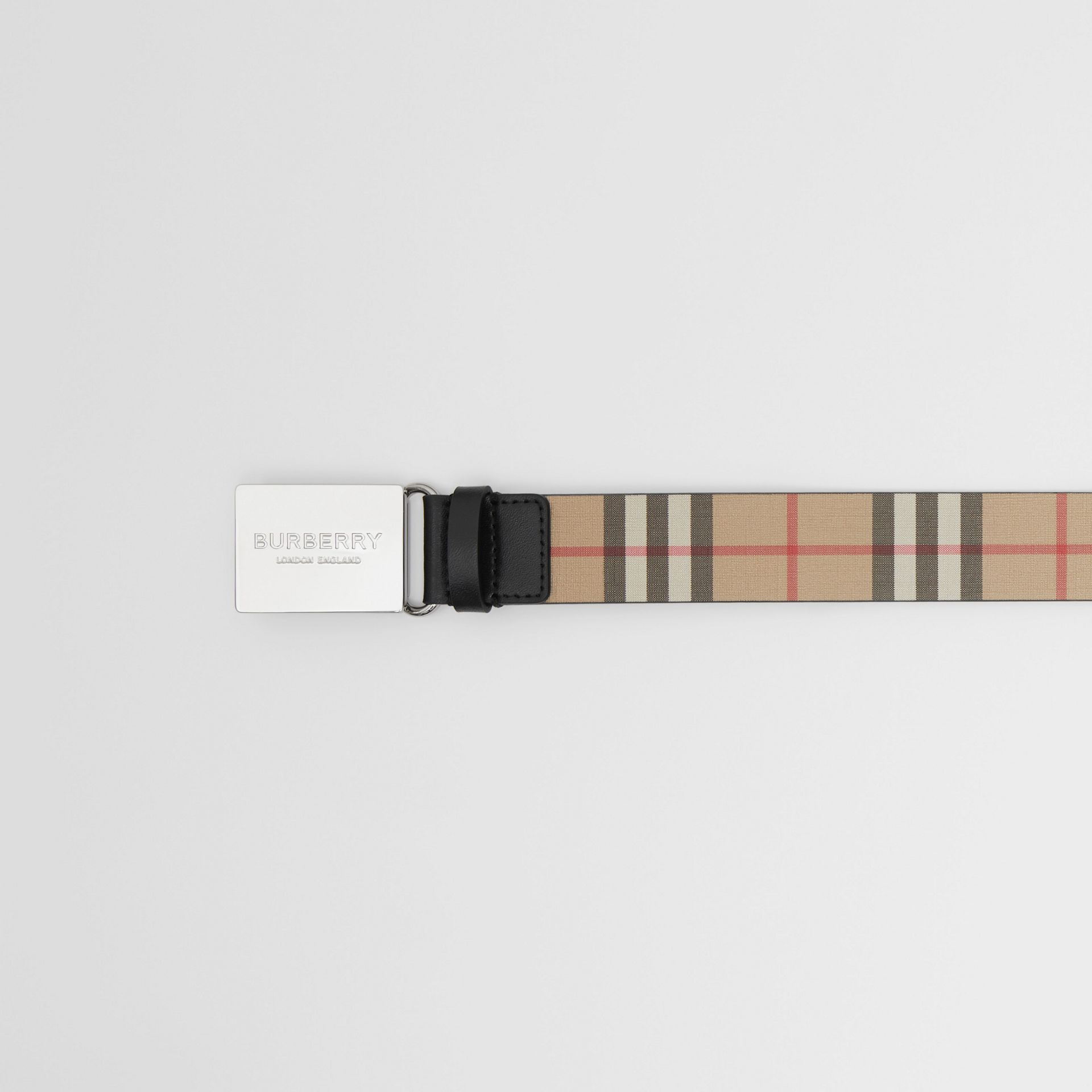 Plaque Buckle Vintage Check E-canvas Belt in Archive Beige - Men | Burberry United Kingdom - gallery image 1