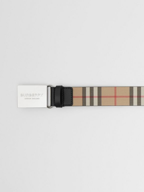 Plaque Buckle Vintage Check E-canvas Belt in Archive Beige - Men | Burberry Singapore - cell image 1