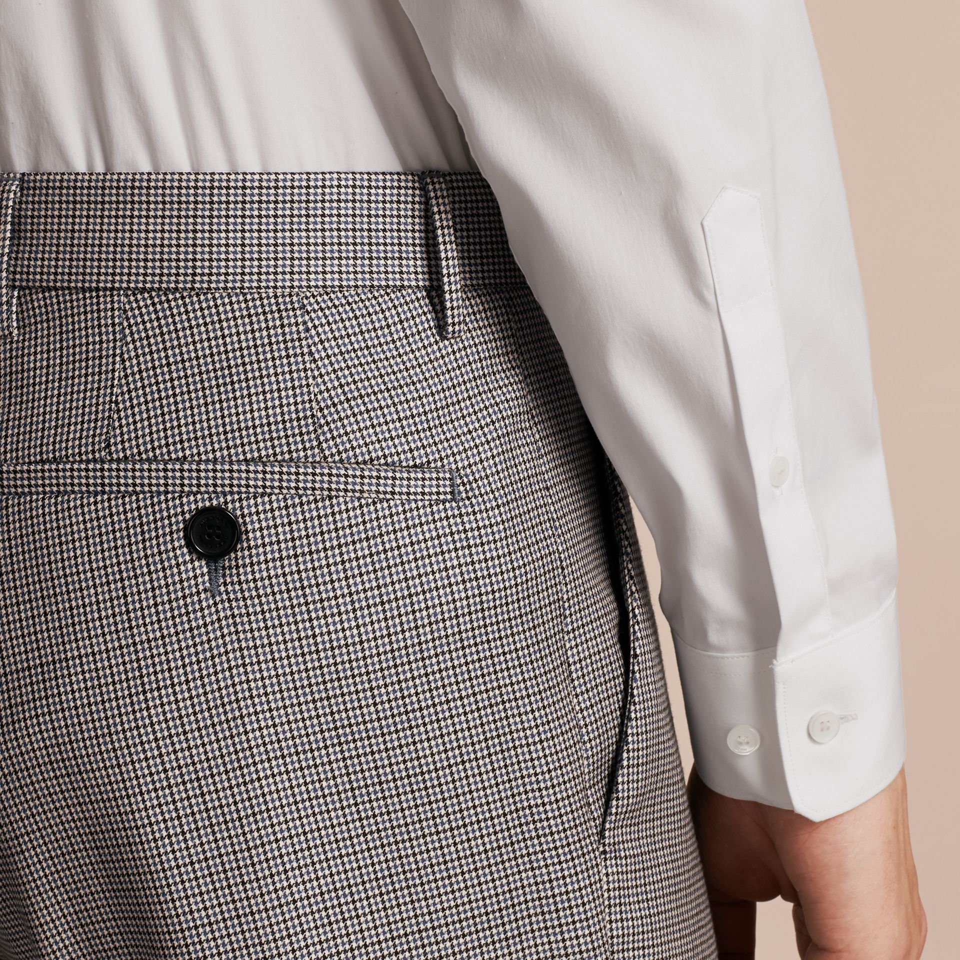 Slim Fit Houndstooth Wool Trousers in Light Blue - Men | Burberry - gallery image 5