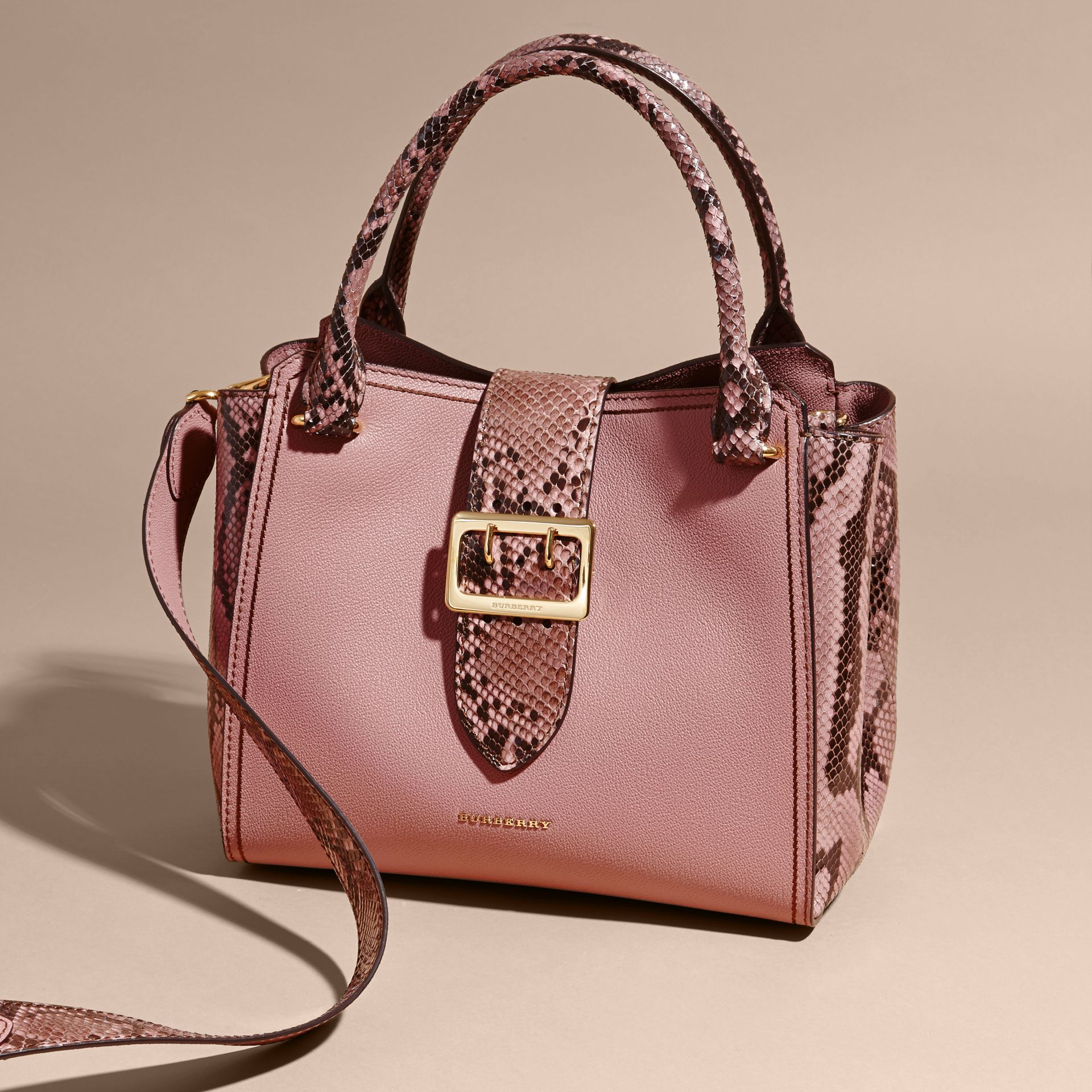 Dusty pink The Medium Buckle Tote in Grainy Leather and Python - gallery image 8