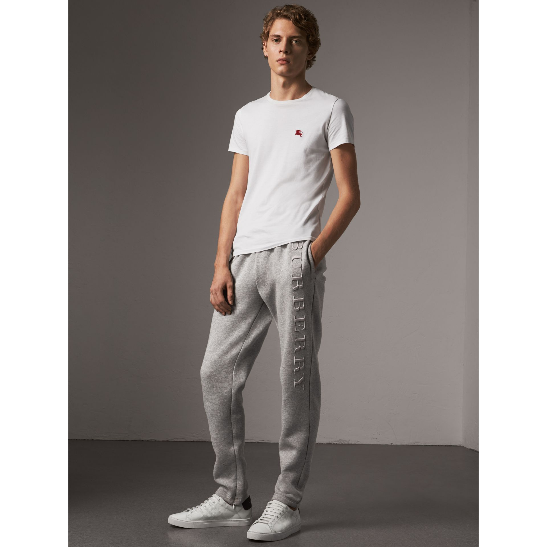 Embroidered Jersey Sweatpants in Pale Grey Melange - Men | Burberry - gallery image 0
