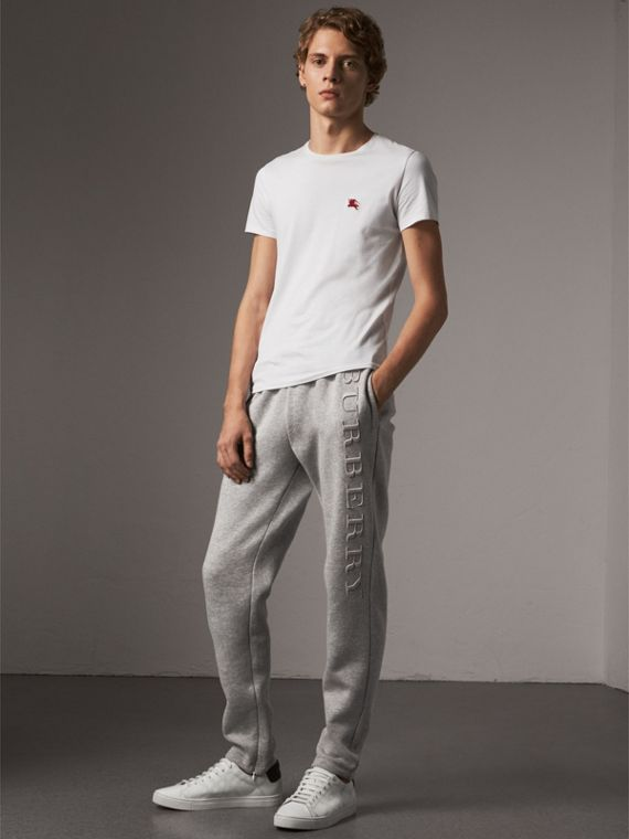 Embroidered Jersey Sweatpants in Pale Grey Melange