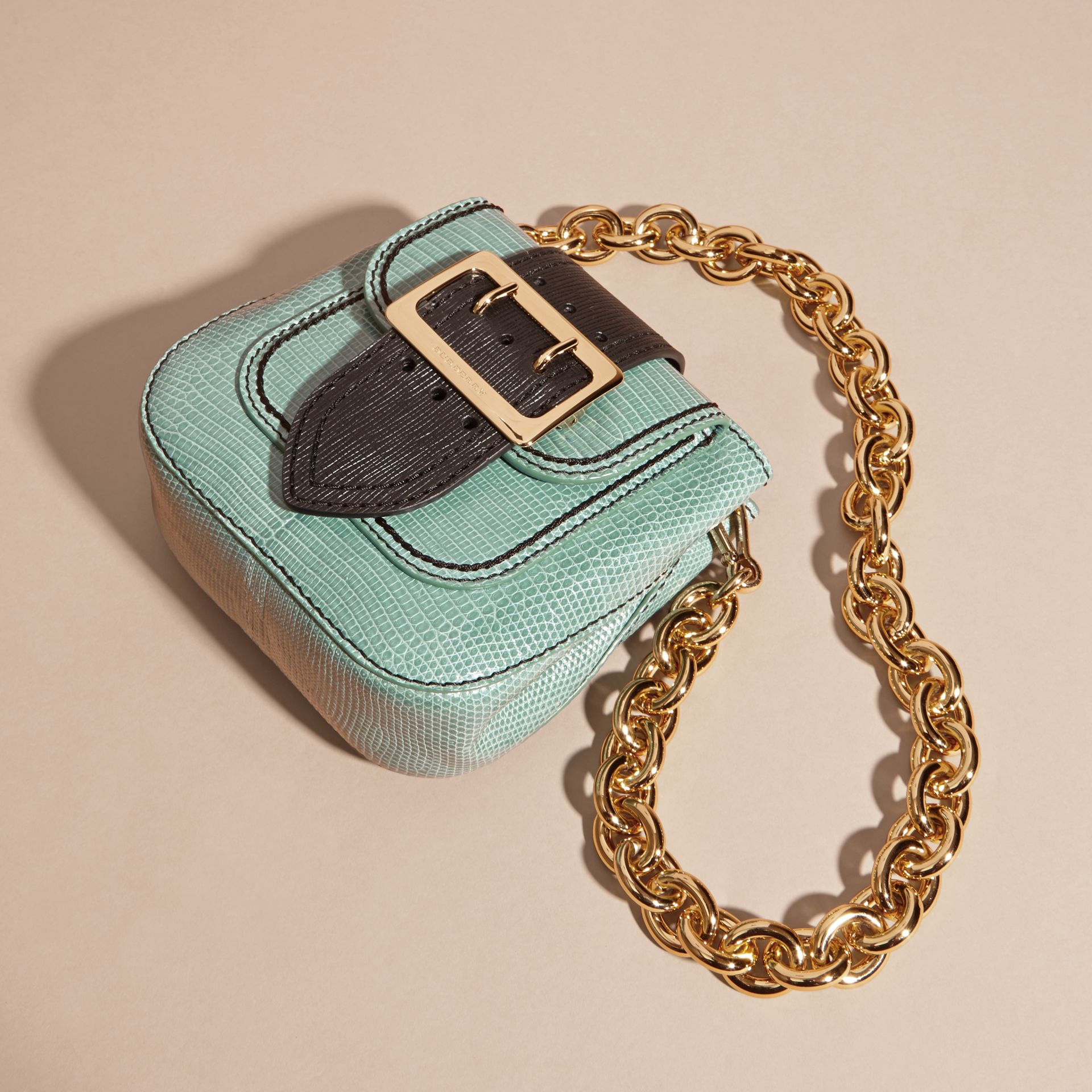 Dusty mint The Small Square Buckle Bag in Lizard - gallery image 6