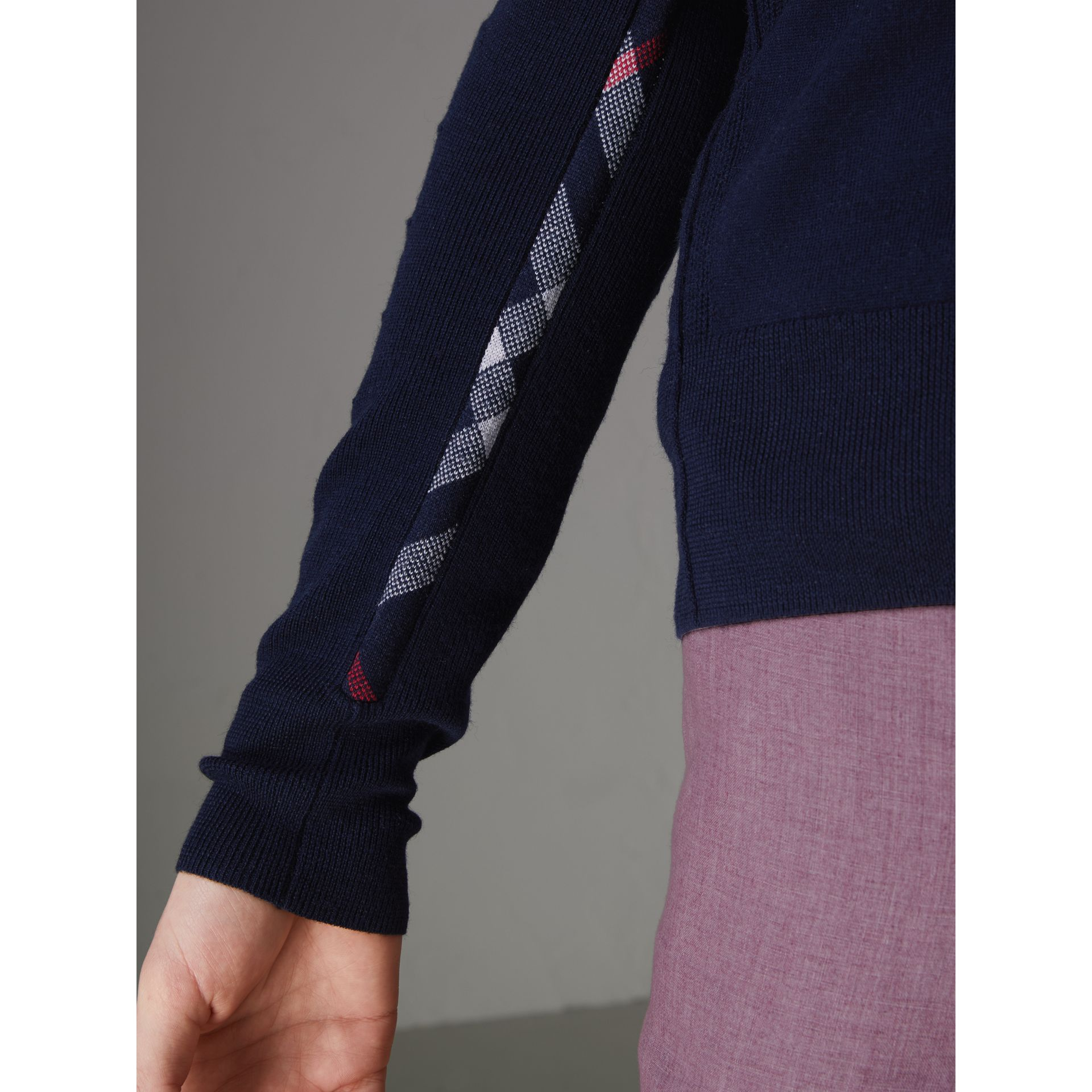 Check Detail Merino Wool Cardigan in Navy - Men | Burberry - gallery image 1