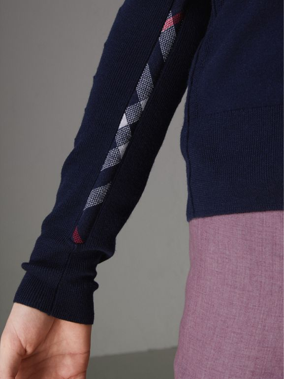 Check Detail Merino Wool Cardigan in Navy - Men | Burberry - cell image 1