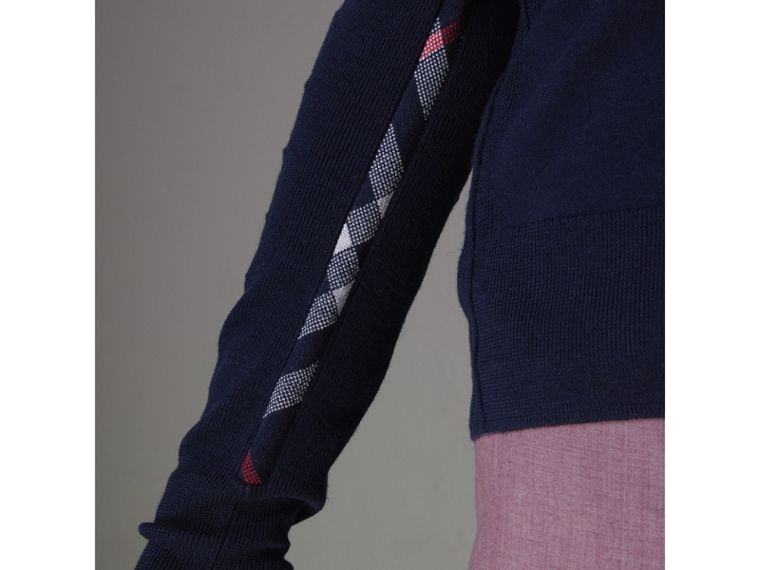 Check Detail Merino Wool Cardigan in Navy - Men | Burberry United Kingdom - cell image 1