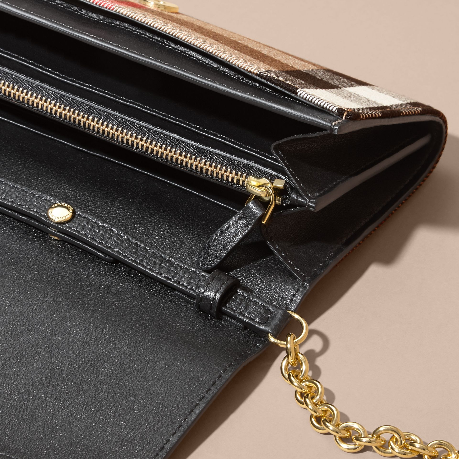 House Check and Leather Wallet with Chain in Black - Women | Burberry Australia - gallery image 6