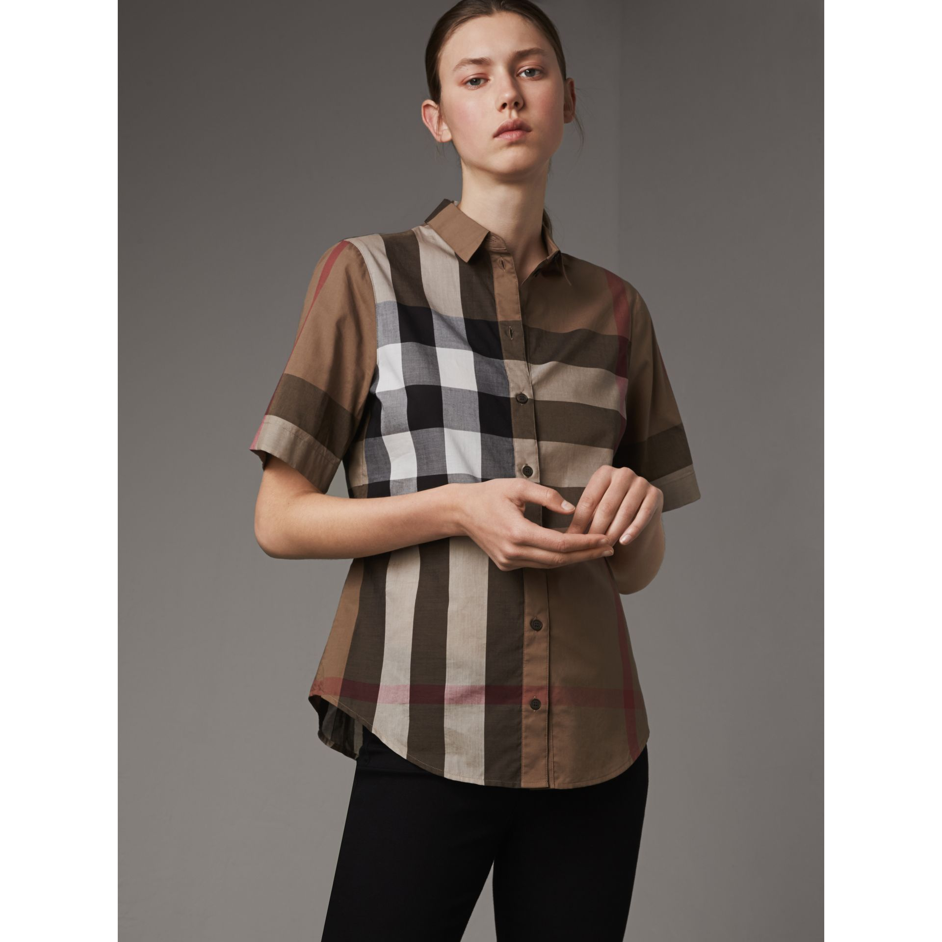 Short-sleeved Check Cotton Shirt in Taupe Brown - Women | Burberry United Kingdom - gallery image 1