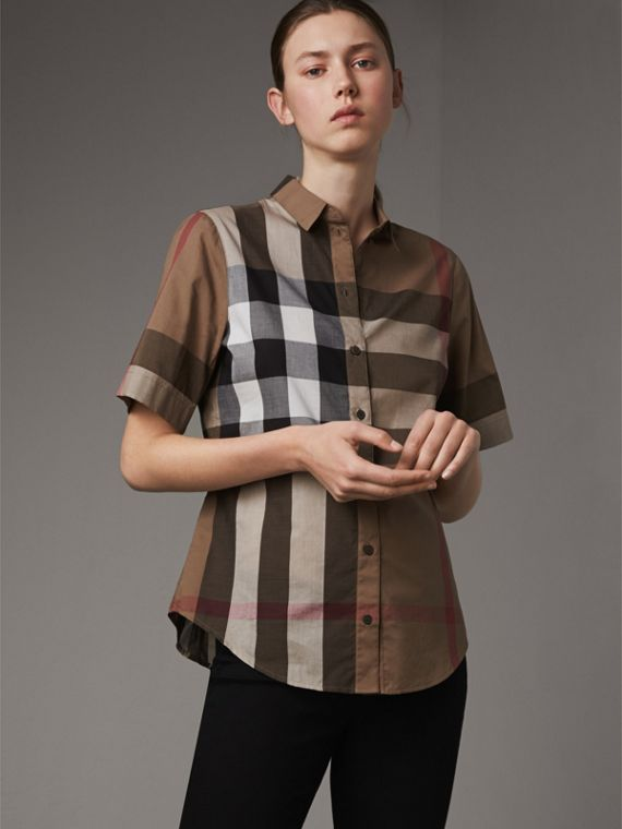 Short-sleeved Check Cotton Shirt in Taupe Brown