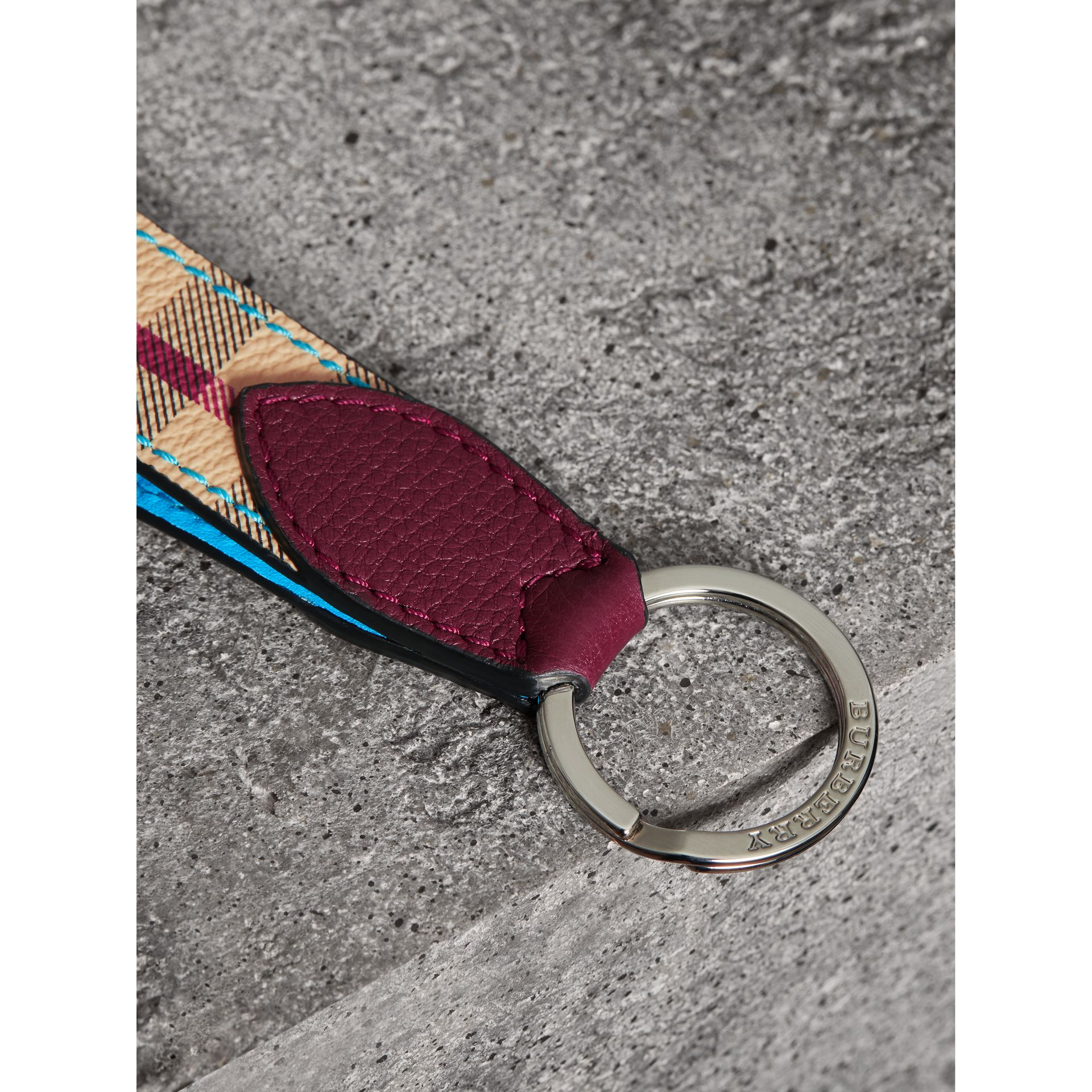 Haymarket Check and Two-tone Leather Key Ring in Bright Blue | Burberry - gallery image 1