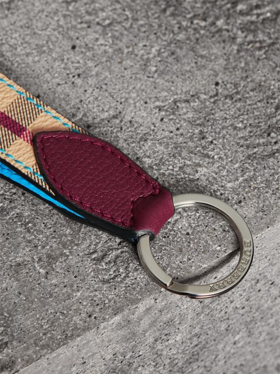 Haymarket Check and Two-tone Leather Key Ring in Bright Blue | Burberry - cell image 1