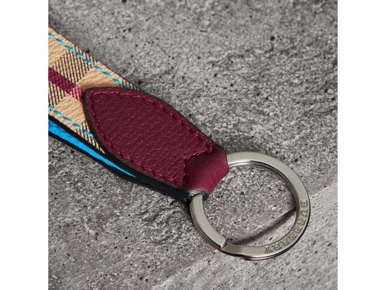 Haymarket Check and Two-tone Leather Key Ring in Bright Blue - Men | Burberry - cell image 1