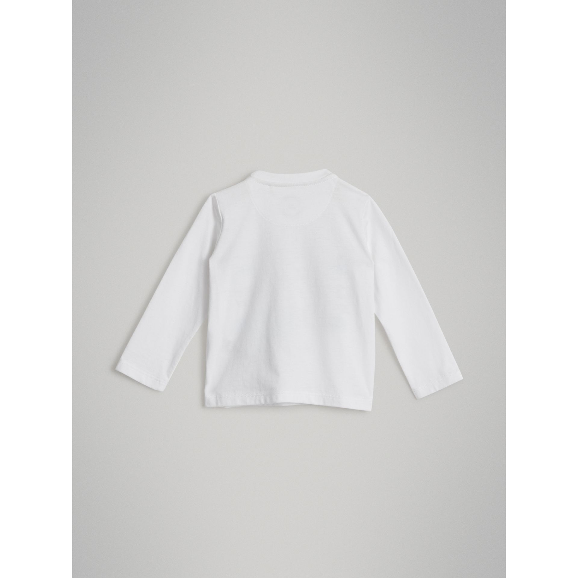 Long-sleeve Logo Print Cotton T-shirt in White | Burberry - gallery image 3