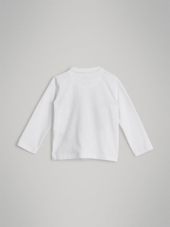 Long-sleeve Logo Print Cotton T-shirt in White | Burberry - cell image 3