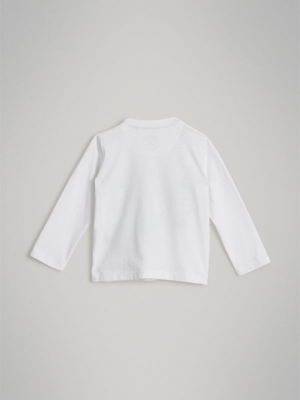 Long-sleeve Logo Print Cotton T-shirt in White - Children | Burberry United Kingdom - cell image 3