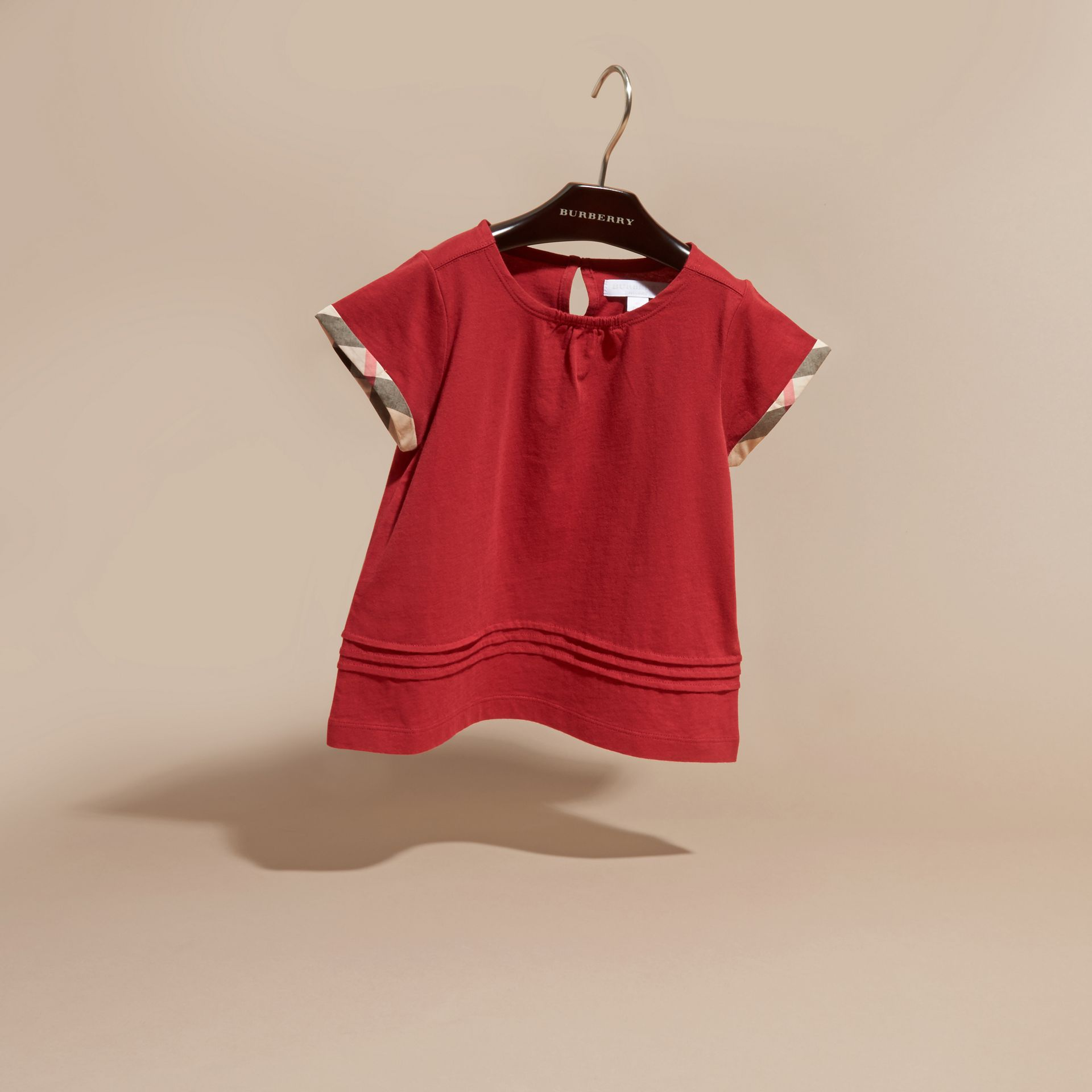 Pleat Detail Check Cotton T-Shirt in Parade Red - gallery image 3