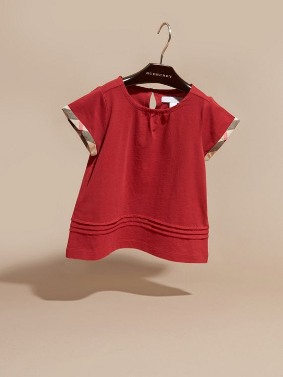 Parade red Pleat Detail Check Cotton T-Shirt Parade Red - cell image 2