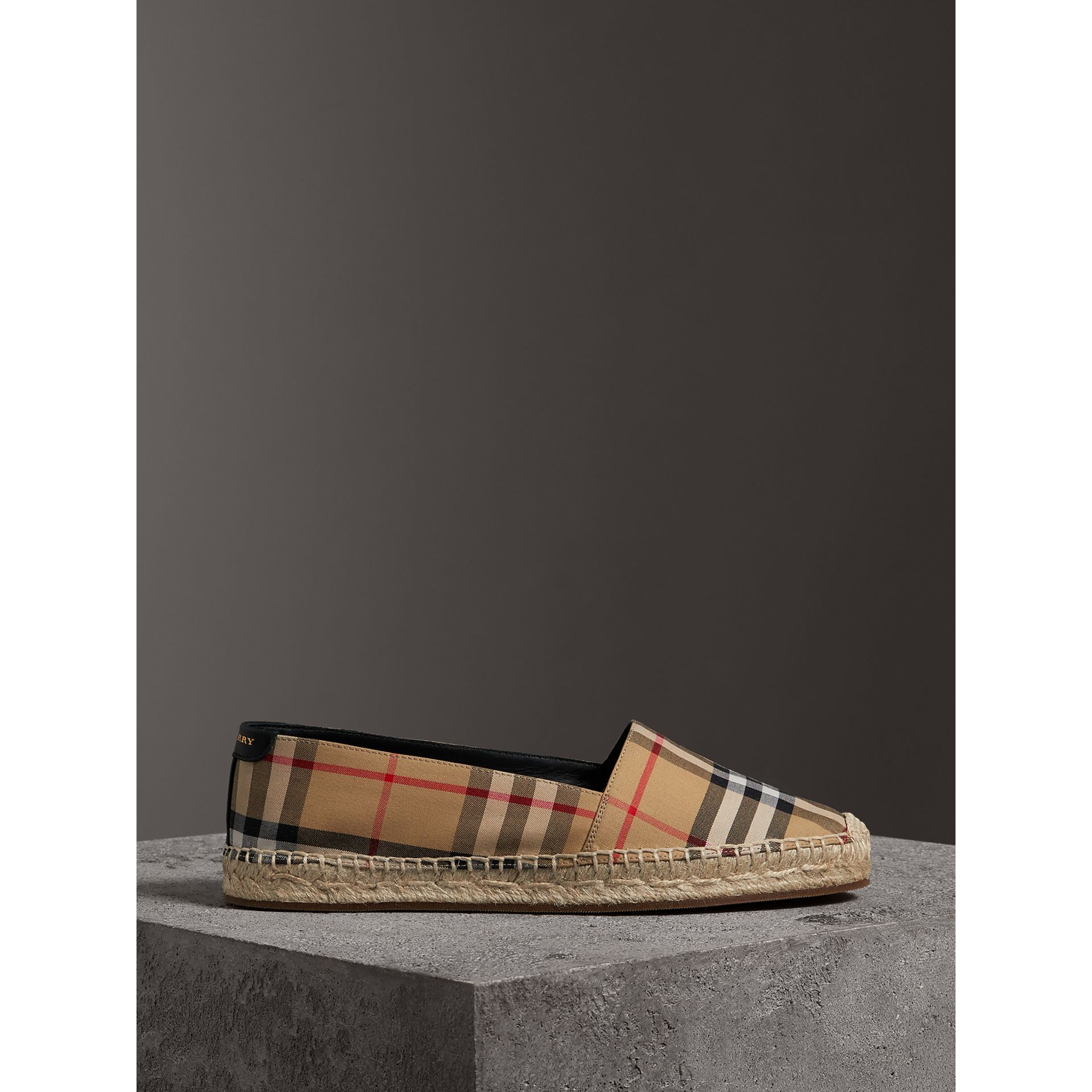 Vintage Check and Leather Espadrilles in Antique Yellow - Women | Burberry Singapore - gallery image 3