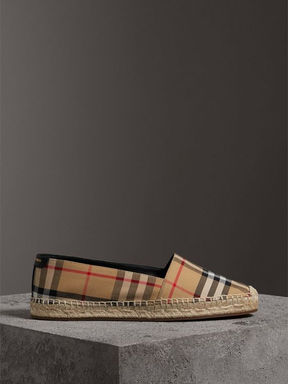 Vintage Check and Leather Espadrilles in Antique Yellow - Women | Burberry Hong Kong - cell image 3