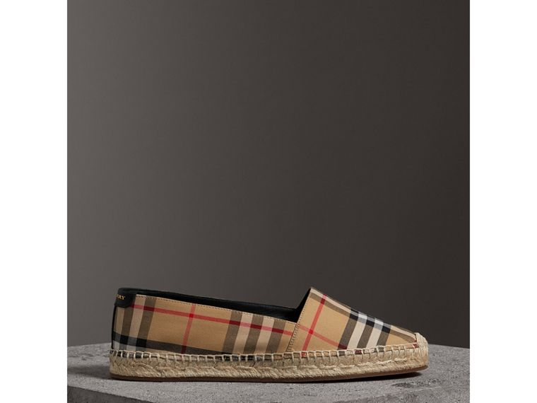 Vintage Check and Leather Espadrilles in Antique Yellow - Women | Burberry - cell image 4