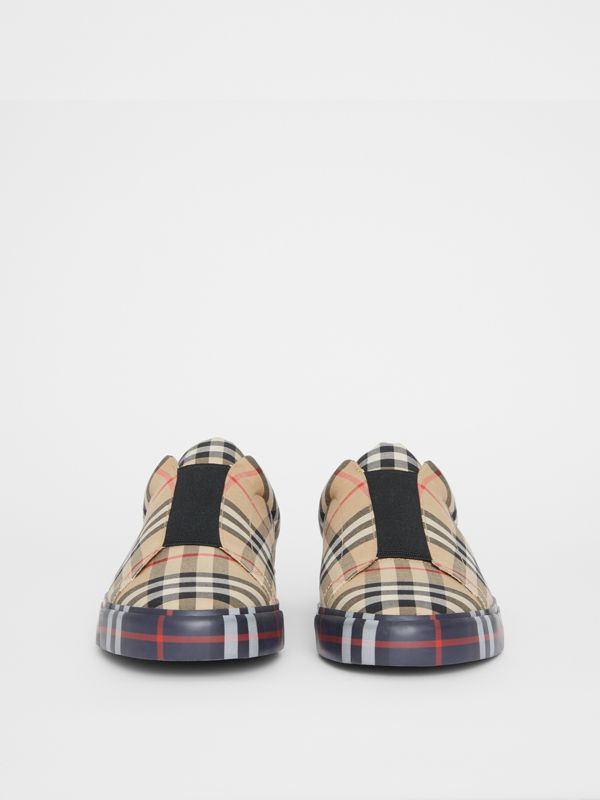 Contrast Check and Leather Slip-on Sneakers in Archive Beige - Men | Burberry Australia - cell image 2