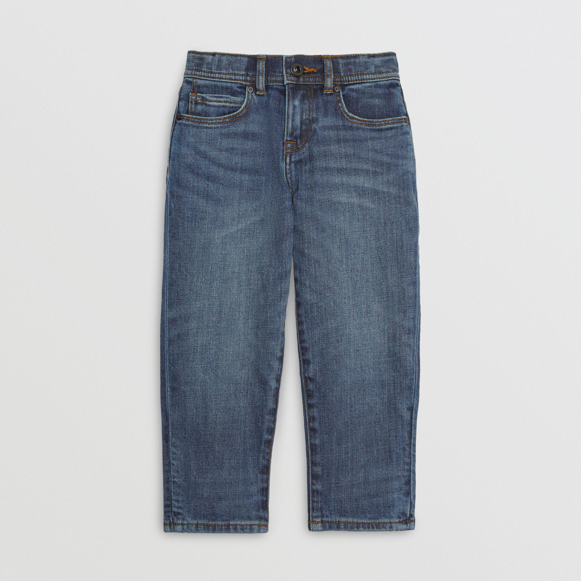 Relaxed Fit Stretch Denim Jeans in Mid Indigo - Girl | Burberry - gallery image 0