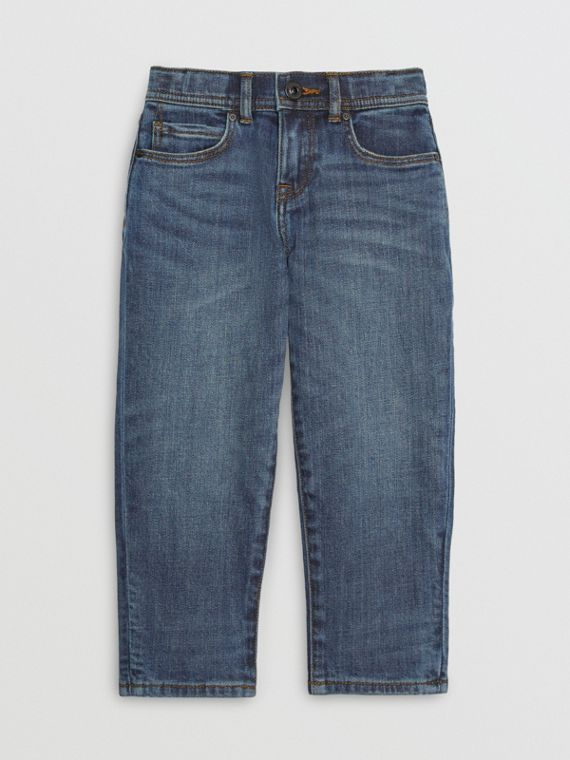 Relaxed Fit Stretch Denim Jeans in Mid Indigo
