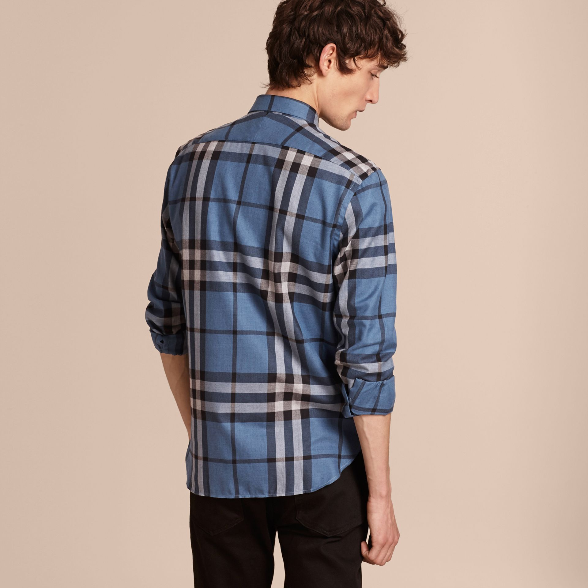 Check Cotton Cashmere Flannel Shirt Pale Lavender Blue - gallery image 3