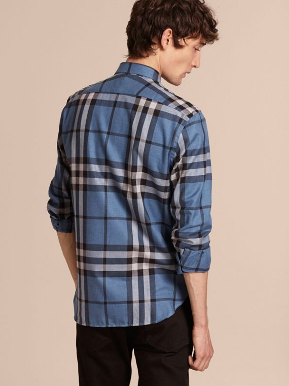 Check Cotton Cashmere Flannel Shirt Pale Lavender Blue - cell image 2