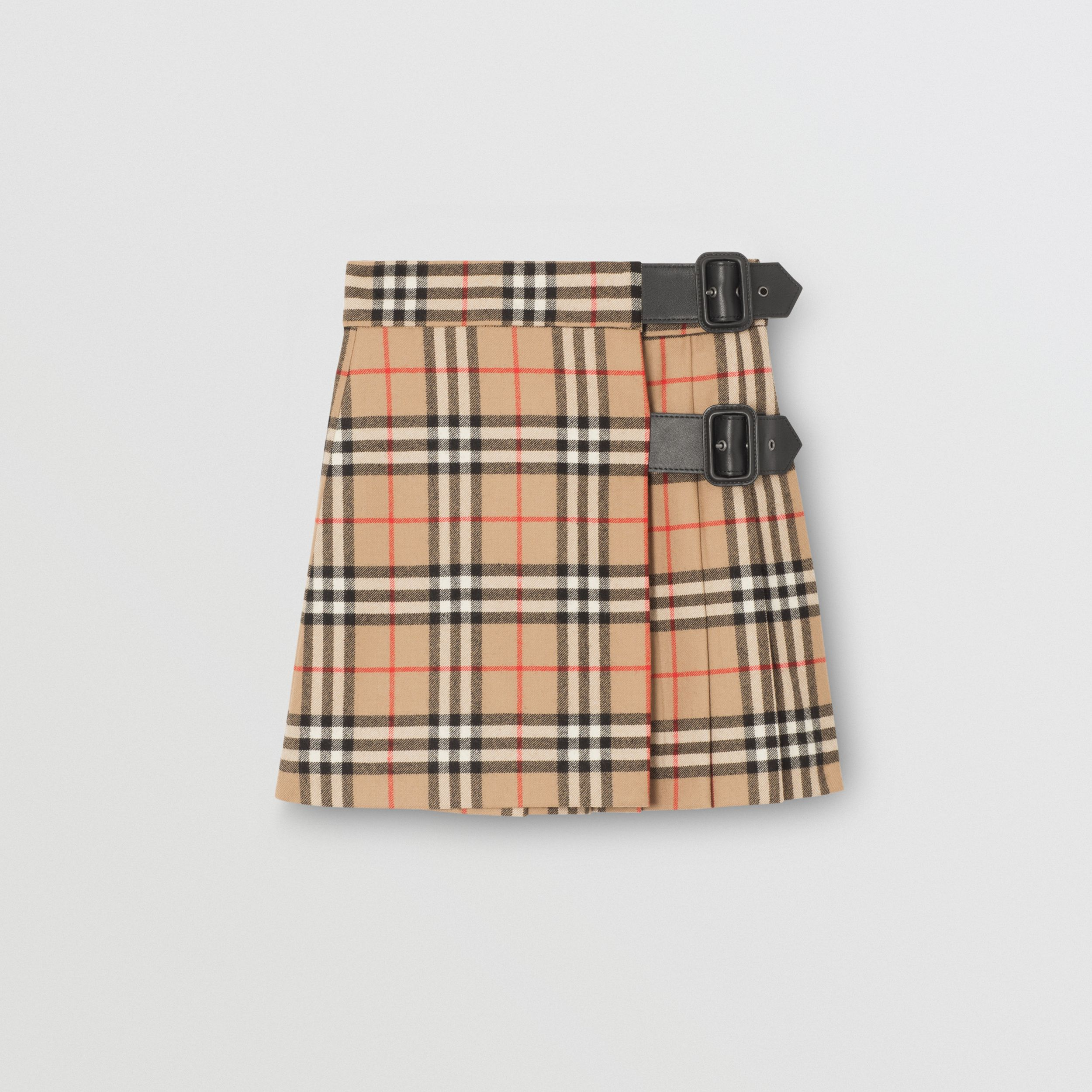 Lambskin Detail Vintage Check Wool Kilt in Archive Beige | Burberry - 1