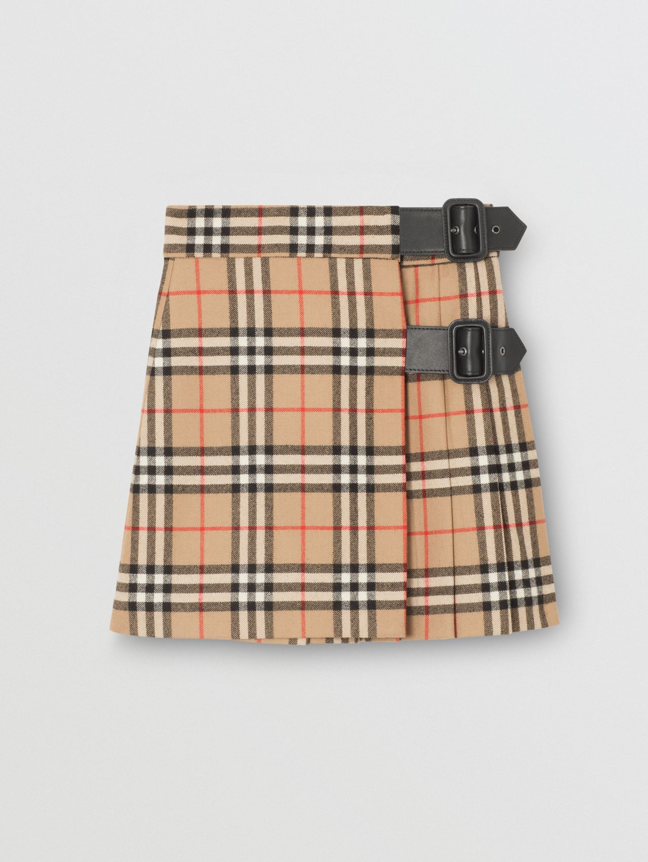 Lambskin Detail Vintage Check Wool Kilt in Archive Beige