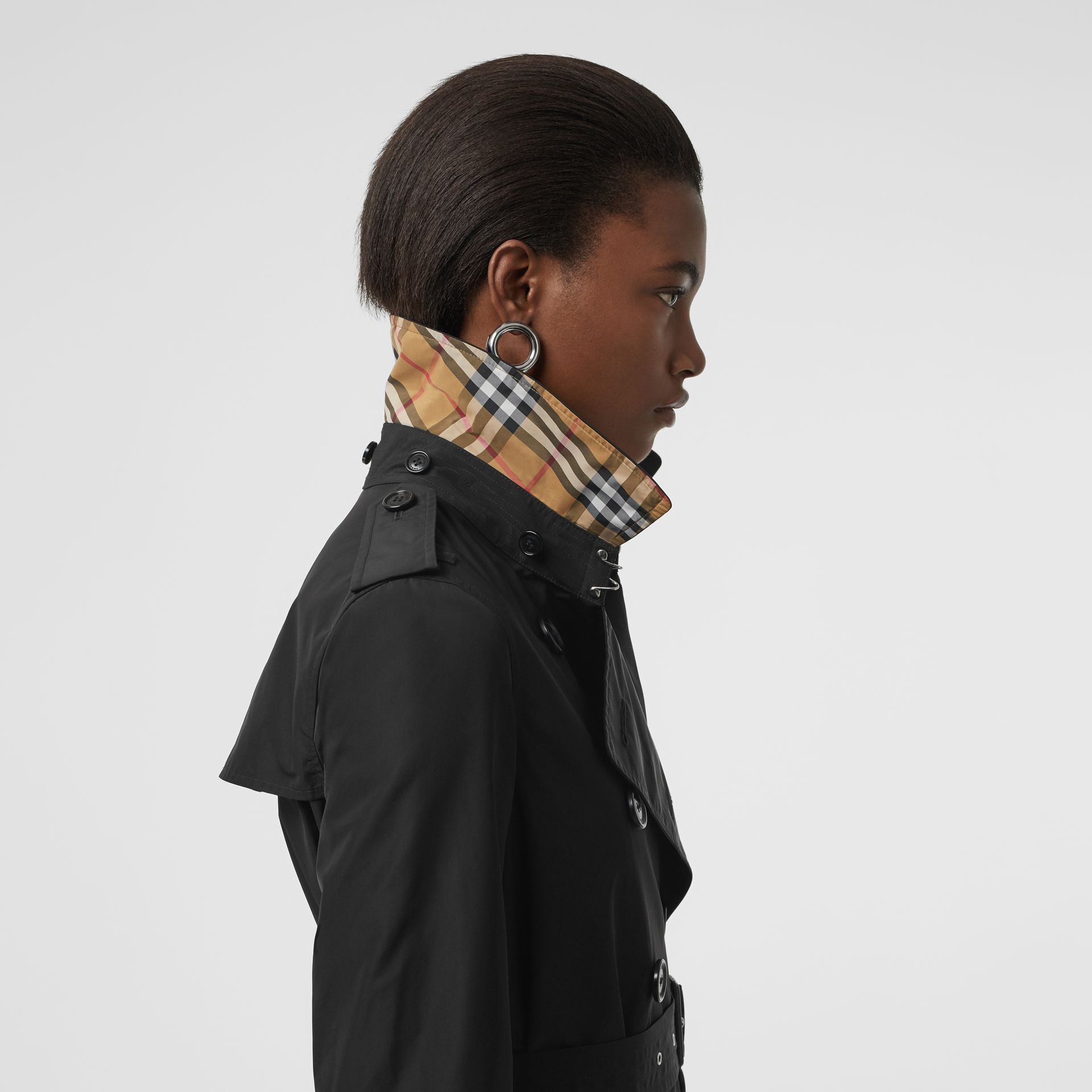 Detachable Hood Taffeta Trench Coat in Black - Women | Burberry Australia - gallery image 1