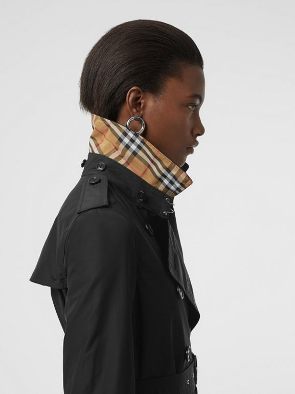 Detachable Hood Taffeta Trench Coat in Black - Women | Burberry Australia - cell image 1