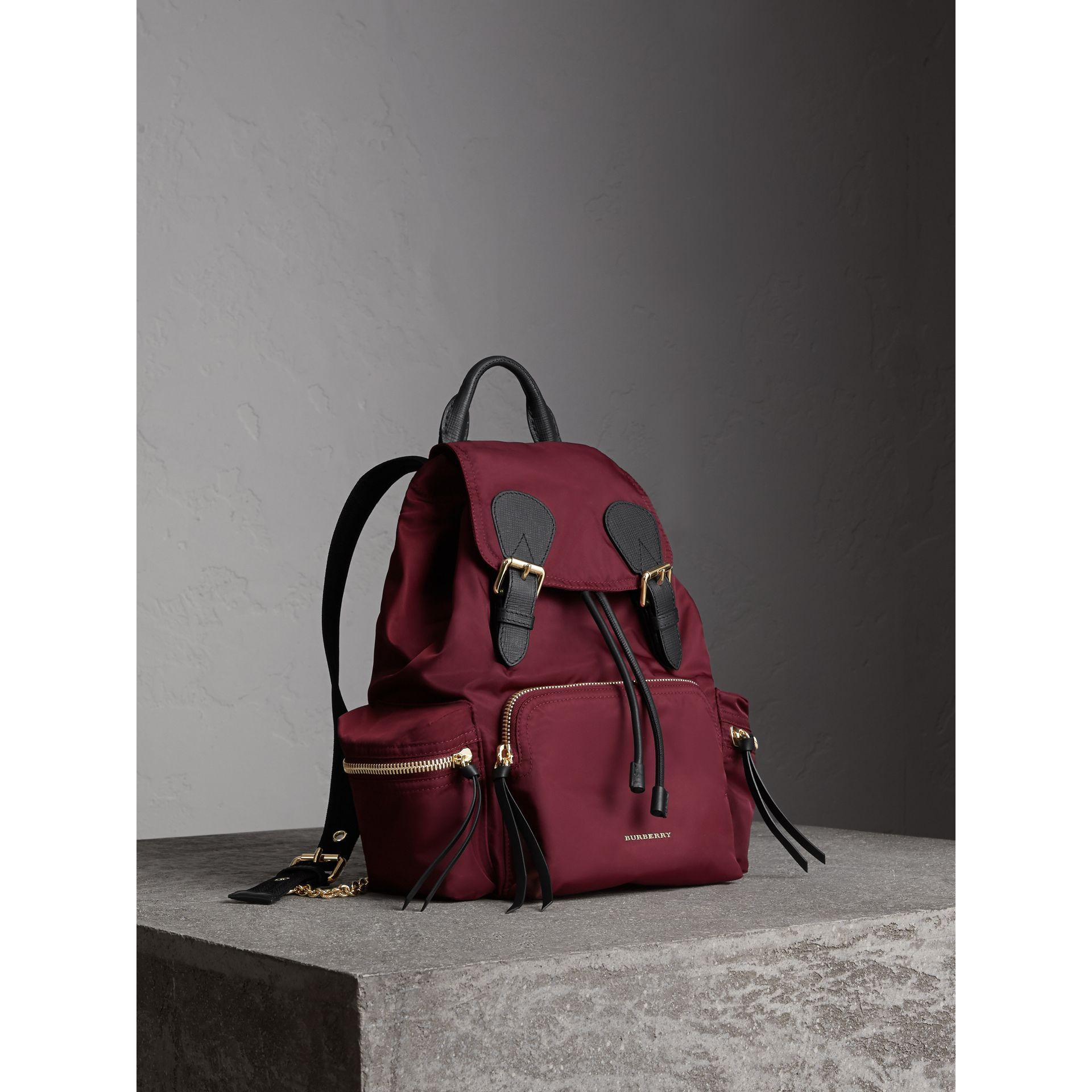 The Medium Rucksack in Technical Nylon and Leather in Burgundy Red - gallery image 7