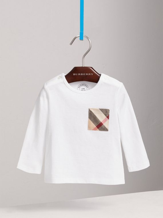 Check Pocket Cotton T-shirt in White | Burberry - cell image 2