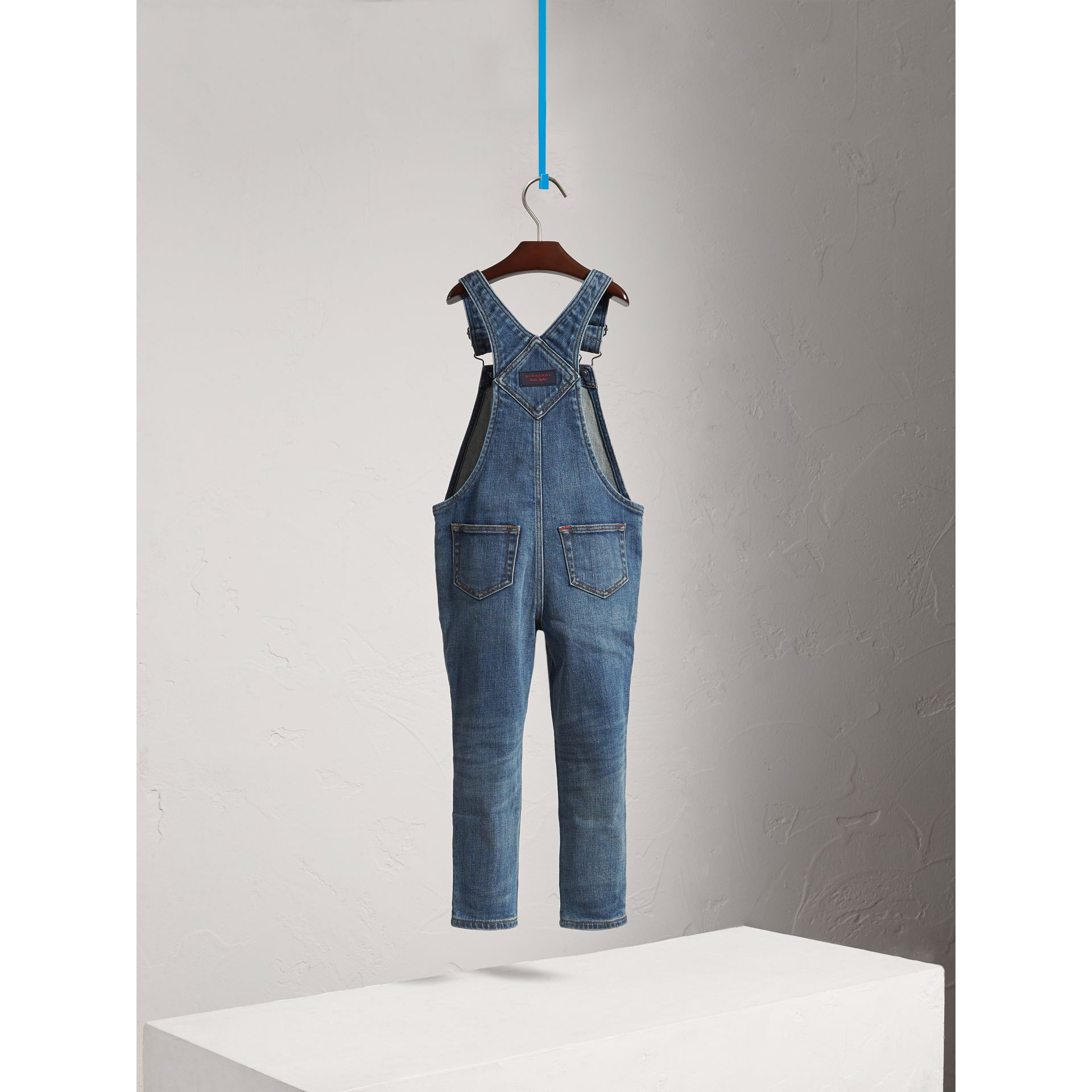 Stretch Denim Dungarees in Mid Indigo - Girl | Burberry - gallery image 4