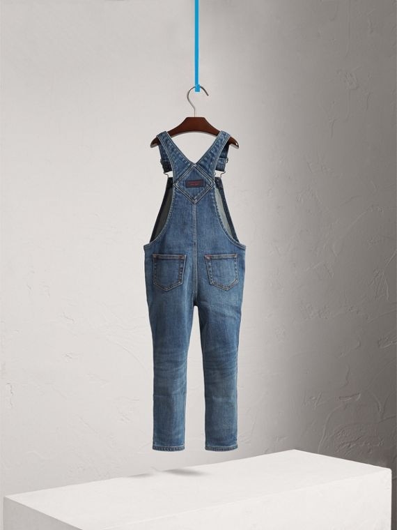 Stretch Denim Dungarees in Mid Indigo - Girl | Burberry - cell image 3