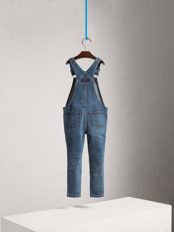 Stretch Denim Dungarees in Mid Indigo | Burberry - cell image 3