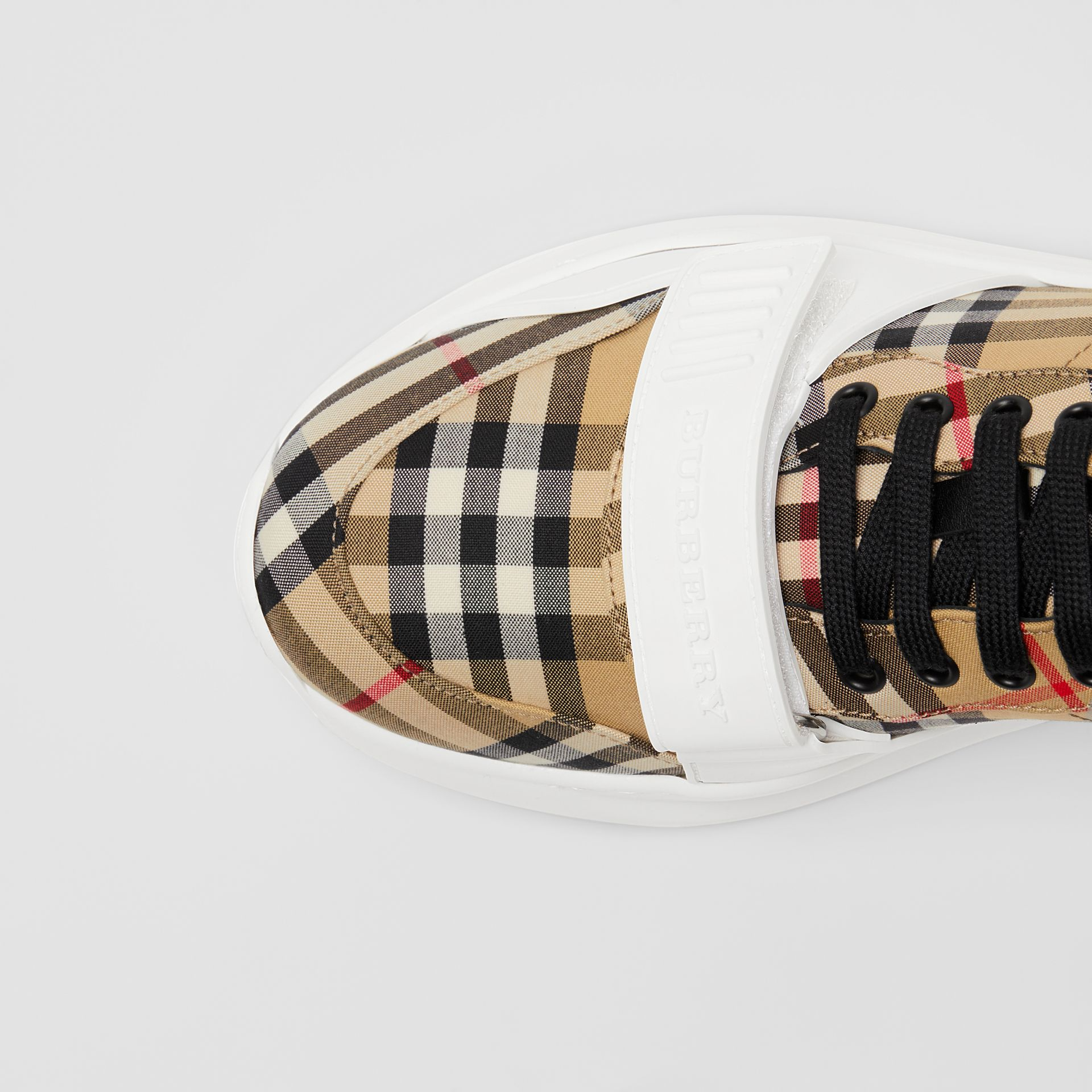 Vintage Check Cotton Sneakers in Antique Yellow - Men | Burberry Australia - gallery image 1