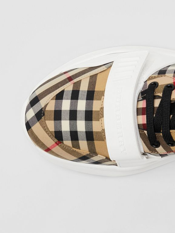 Vintage Check Cotton Sneakers in Antique Yellow - Men | Burberry Australia - cell image 1