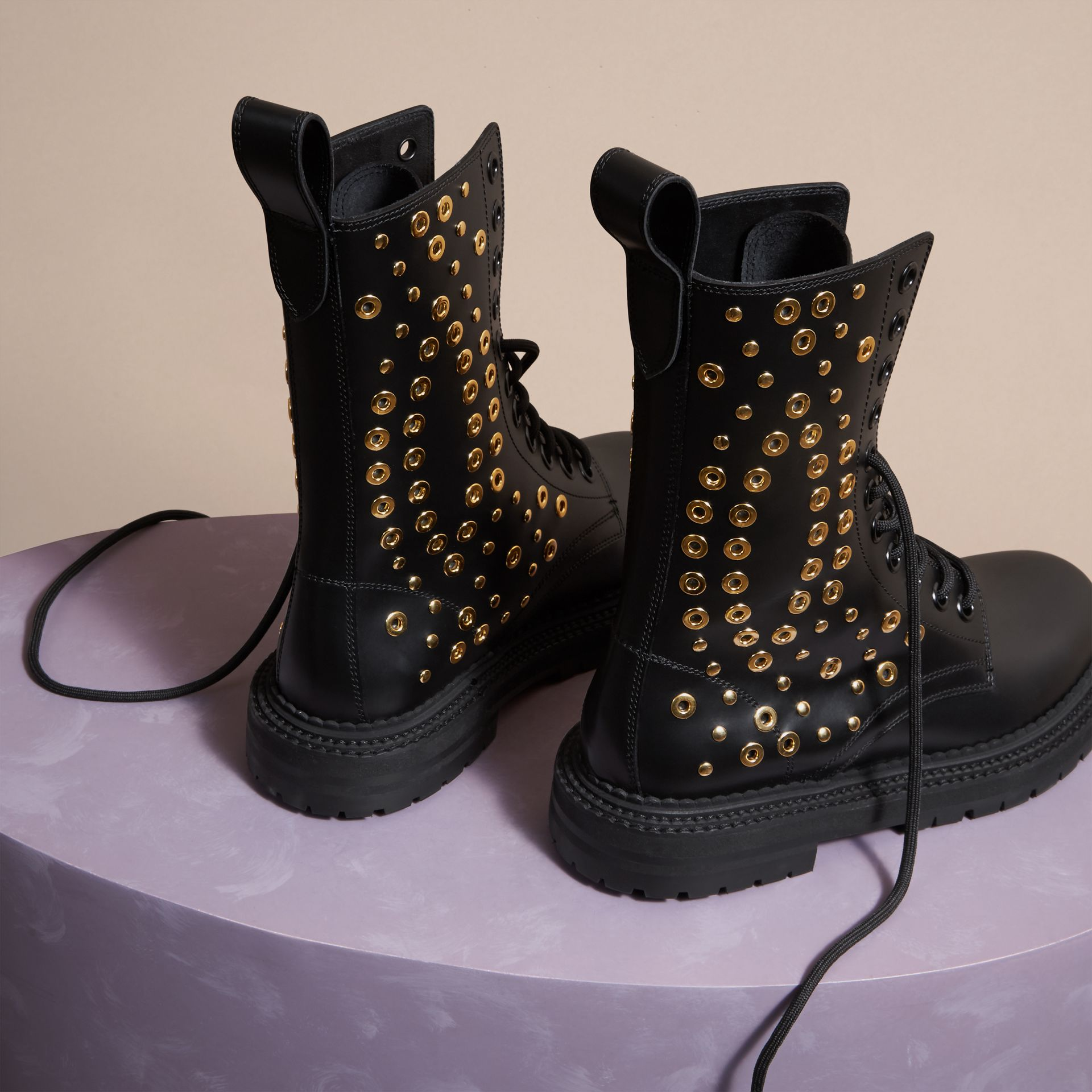 Black Eyelet and Rivet Detail Leather Army Boots - gallery image 4