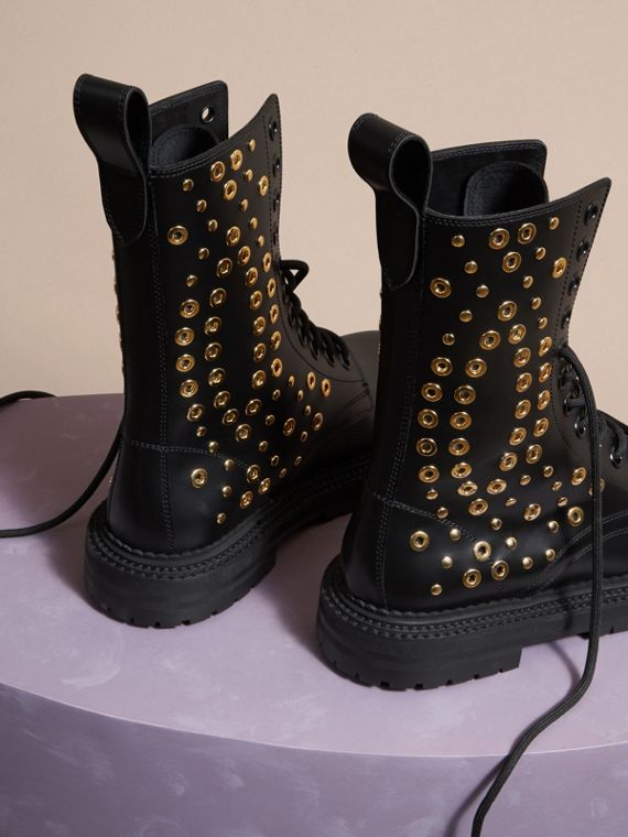 Black Eyelet and Rivet Detail Leather Army Boots - cell image 3