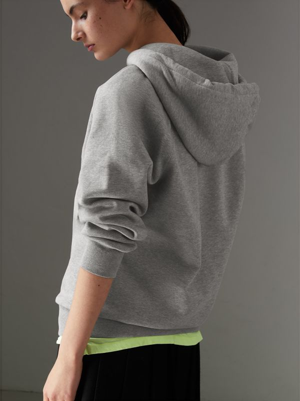 Embroidered Hooded Sweatshirt in Pale Grey Melange - Women | Burberry Australia - cell image 2